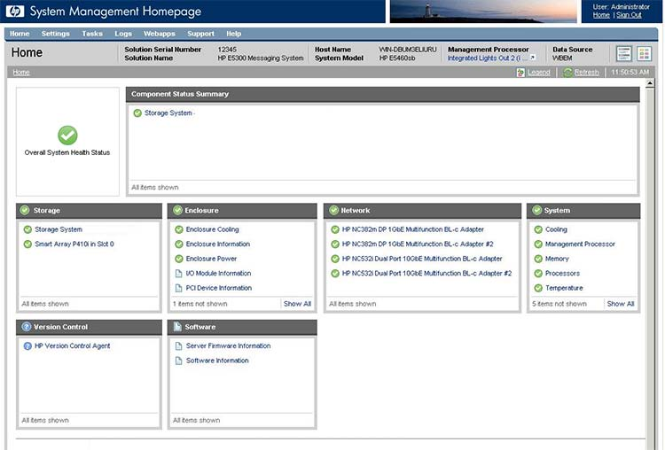 HP E5000 System Management Homepage