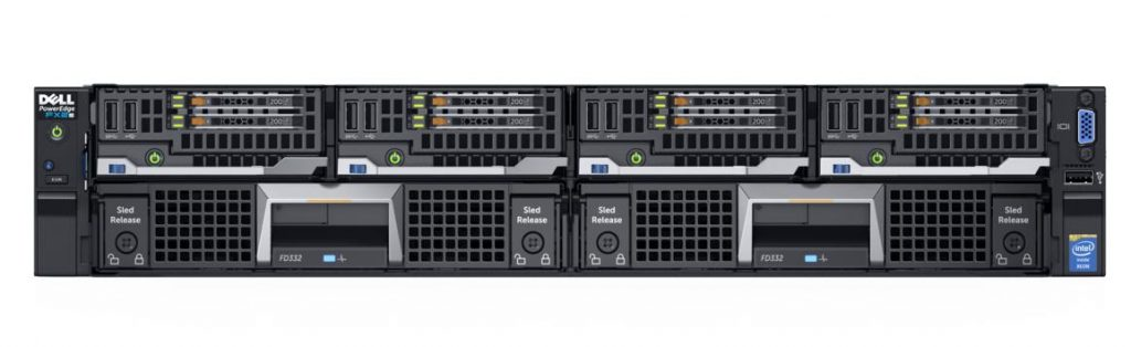 Dell PowerEdge FX2s rack server chassis populated with 4x Dell PowerEdge FC430 (Grapple) blade servers with 2x 1.8-inch hard drives, and 2x PowerEdge FD332 (Stash) storage modules.